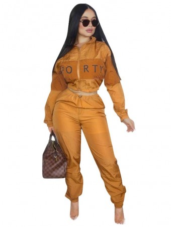 urllyShe Patchwork Tracksuit Zipper Jacket And Pants Two Pieces Sets