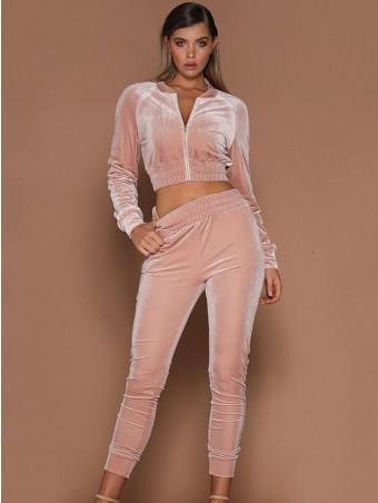 Velvet Zip Up Jacket with Drawstring Pants Set