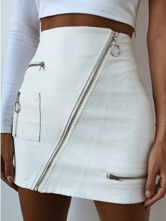 JurllyShe Zippers Sexy PU Leather Skirt