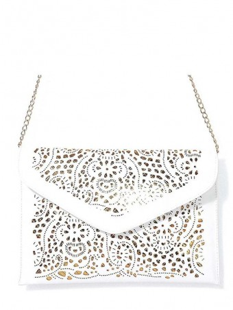 White Hollow Out Envelope Clutch