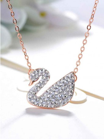 Zircon Inlaid Swan Shaped Necklace