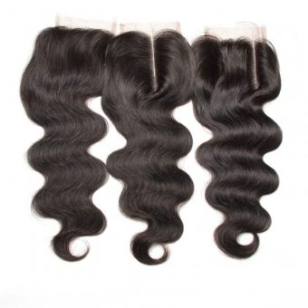 "AfricanMall Body Wave 4 * 4"" lace off woman hair"