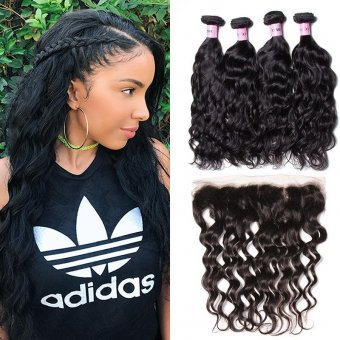 AfricanMall 4 bunch virgin natural wave human hair 13 * 4 ears to ears lace front close