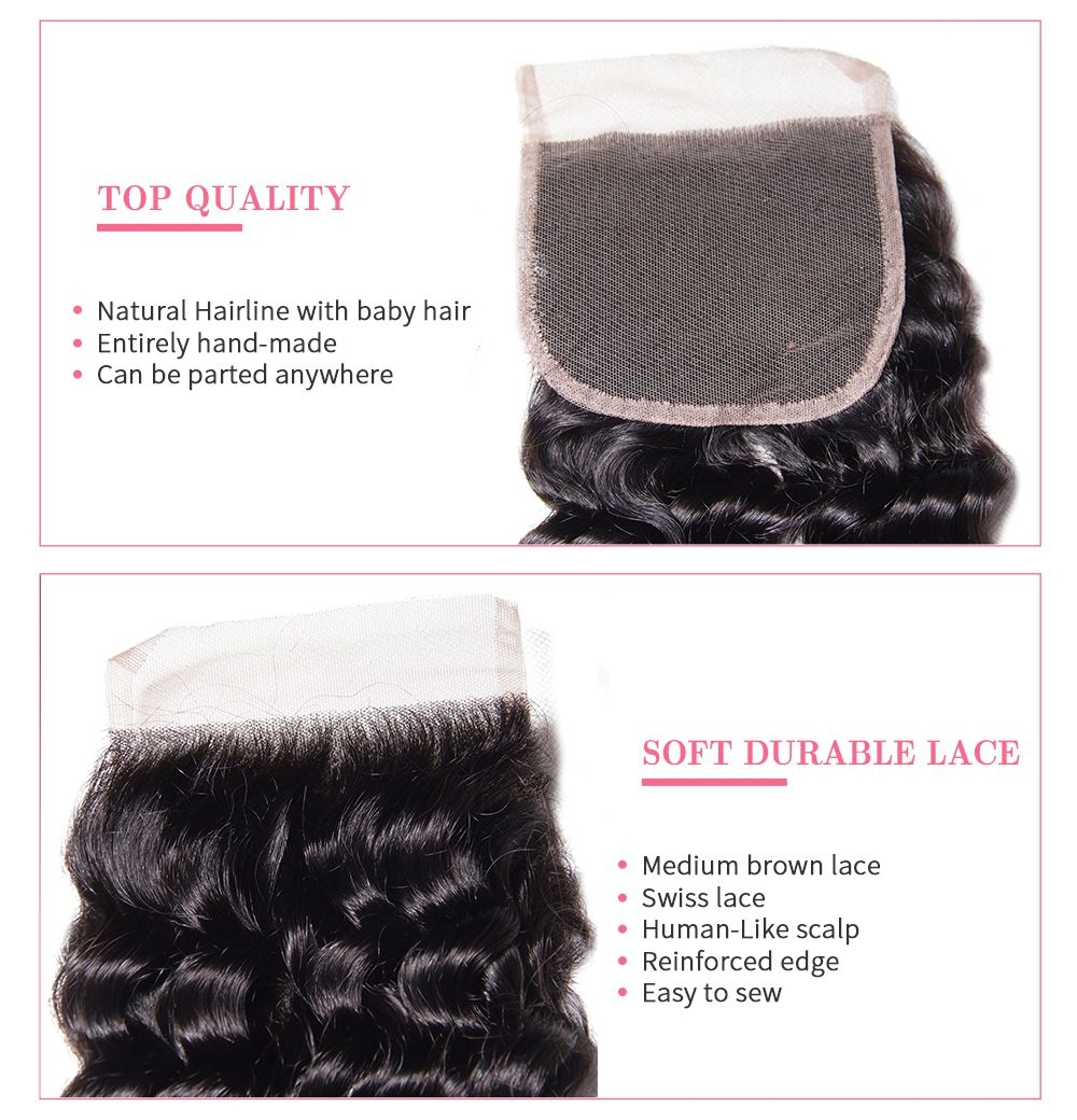 deep wave bundles with lace closure