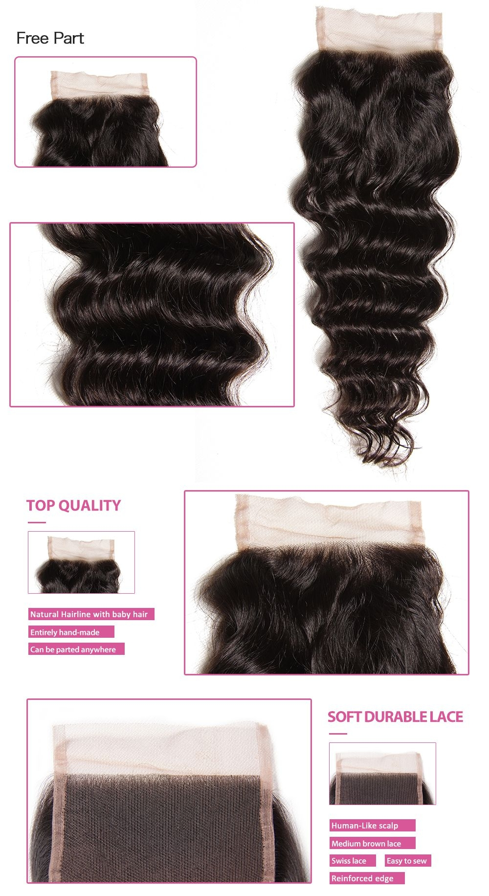 best brazilian remy virgin hair weave with lace front closure