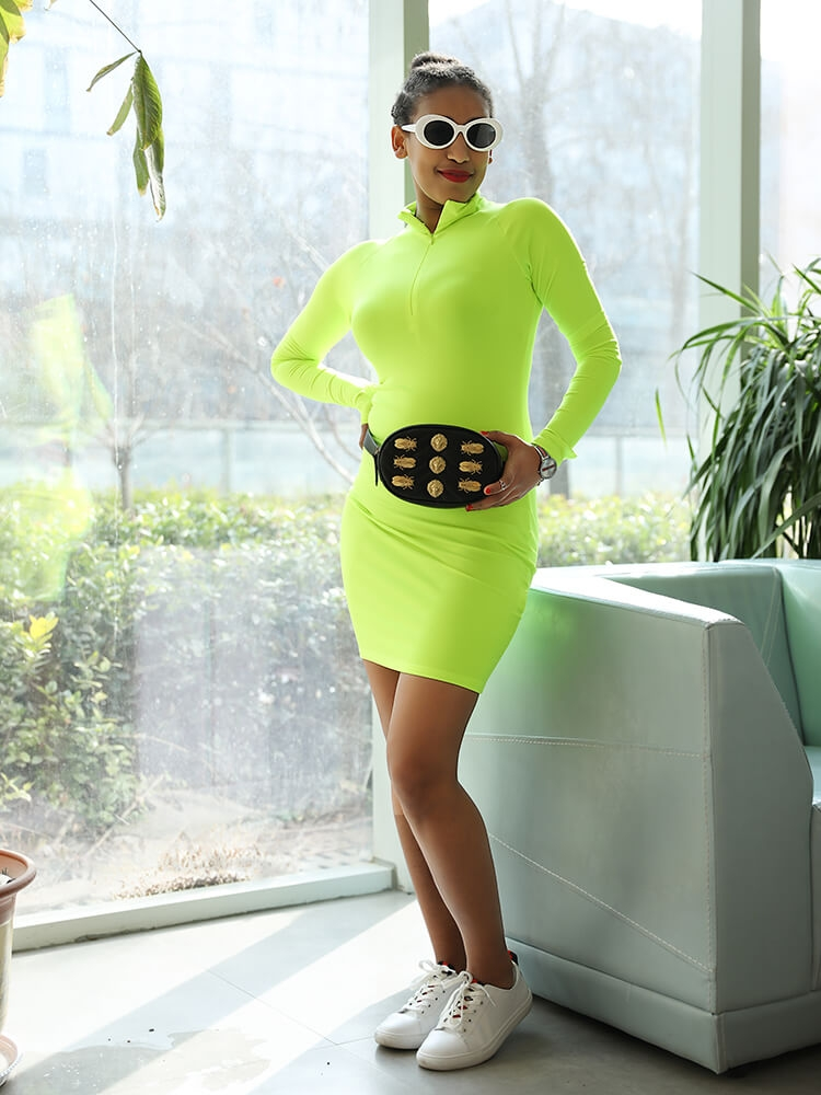 JurllyShe High Neck Zipper Up Neon Color Bodycon Dress