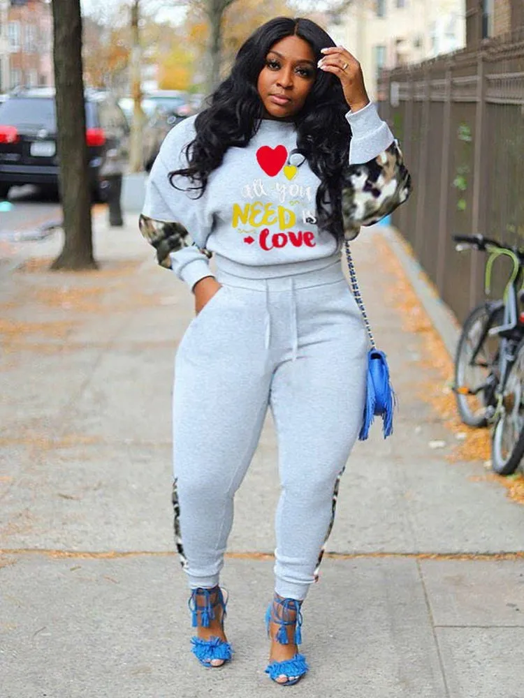 Jurllyshe Plus Size Printed Fashion Fleece Sweatshirt Top With Pants Set