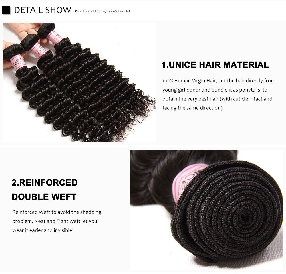 4 bundles deep wave with closure, hair bundles with lace closure, brazilian deep wave bundles