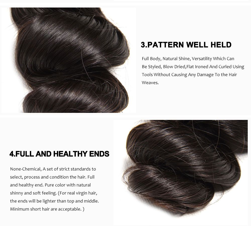 Unice 3 Bundles Virgin Brazilian Loose Wave Hair Bundles