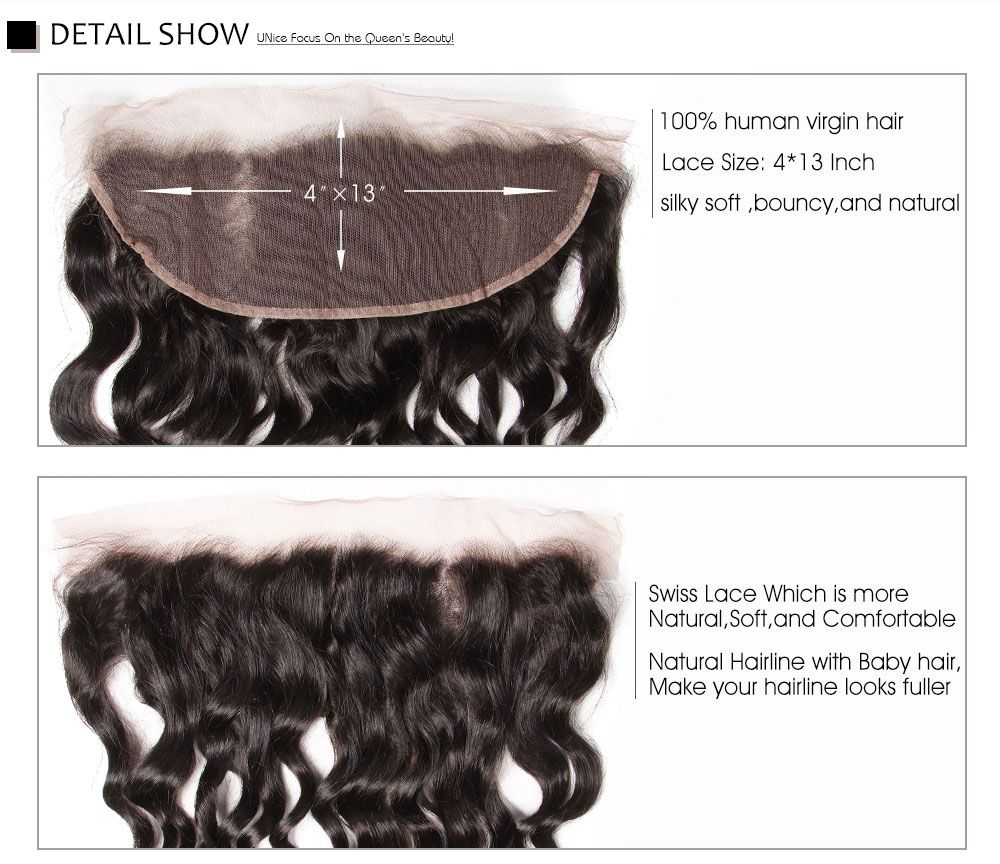 best lace frontal closure natural hair, 3 pcs natural wave with front closure