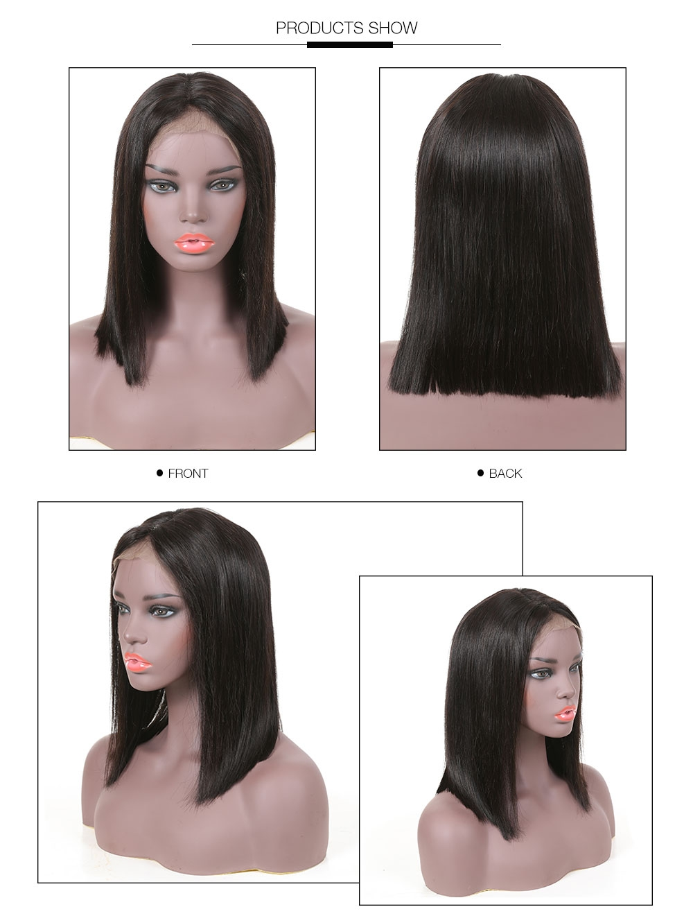 AfricanMall Pre Plucked 100% Human Hair Short Straight Bob Wig show