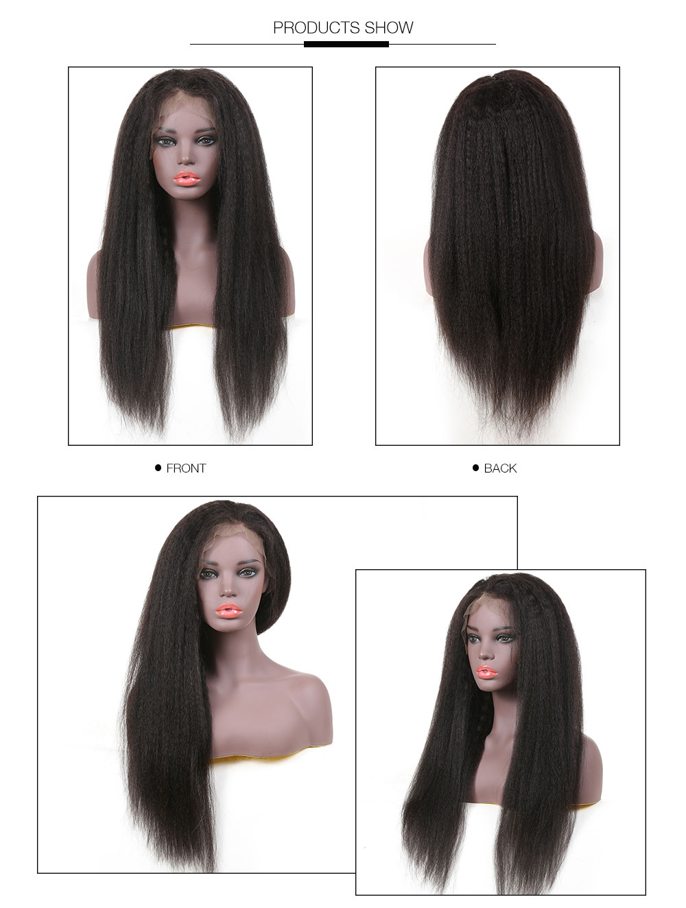 AfricanMall Pre Plucked Lace Frontal Kinky Straight Wig