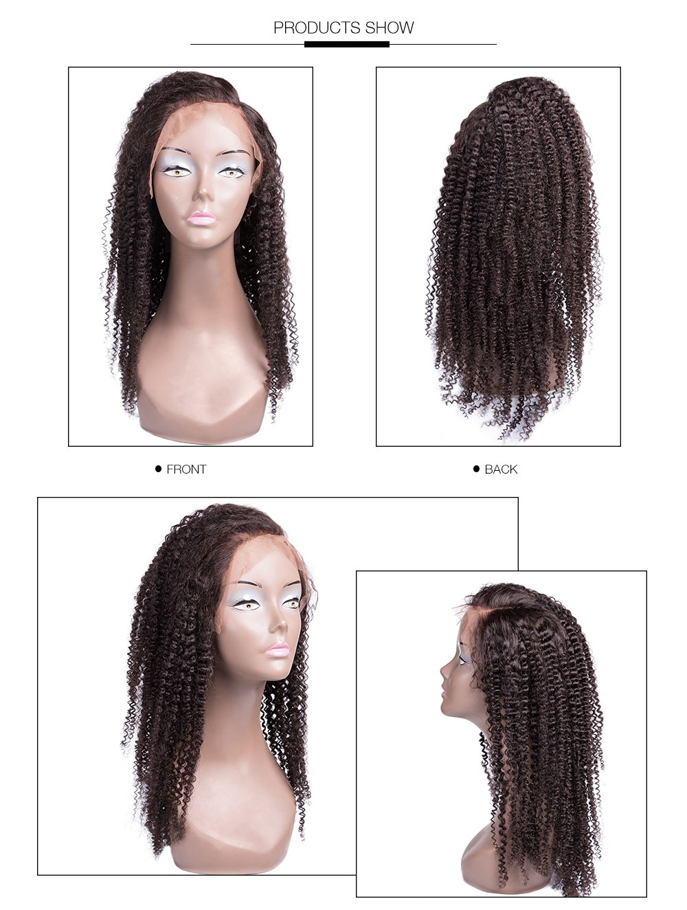 UNice Kinky Curly Wig Human Hair Lace Front Wig