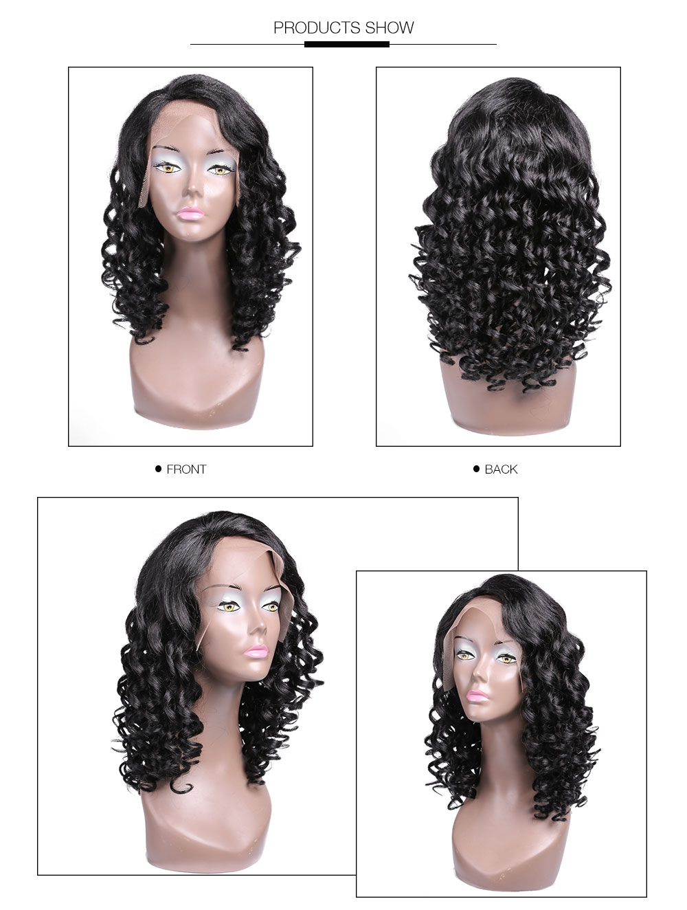 AfricanMall 100% Curly Human Hair Lace Front Wig