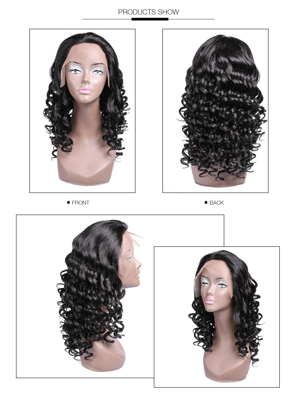 AfricanMall Long Curly Natural Black Human Hair Lace Frontal Wig