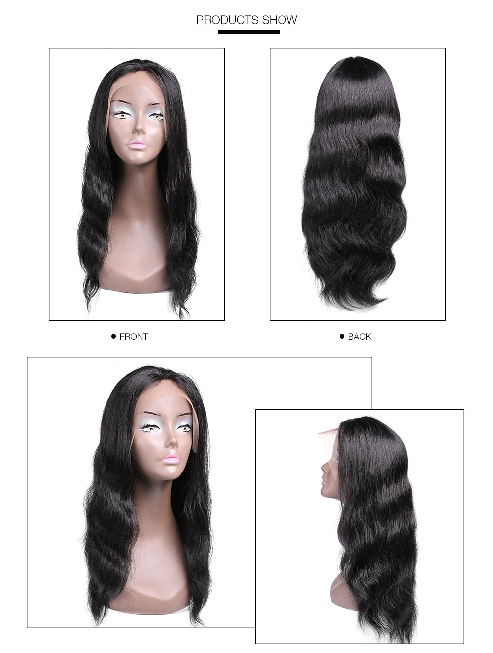 UNice 100% Human Hair Lace Frontal Body Wave Human Hair Wigs