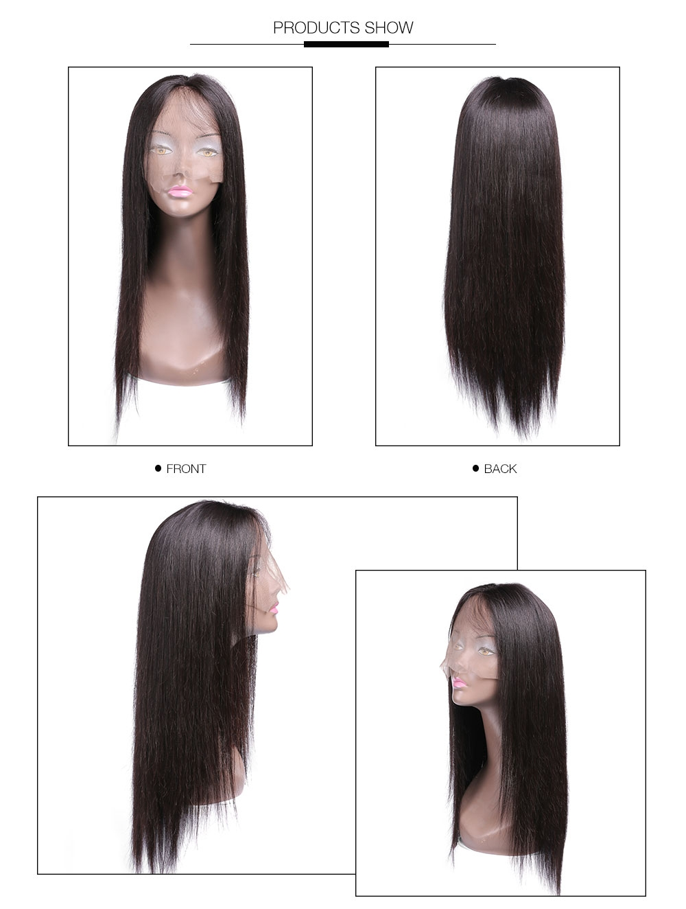 UNice 100% Virgin Straight Human Hair Lace Front Wigs