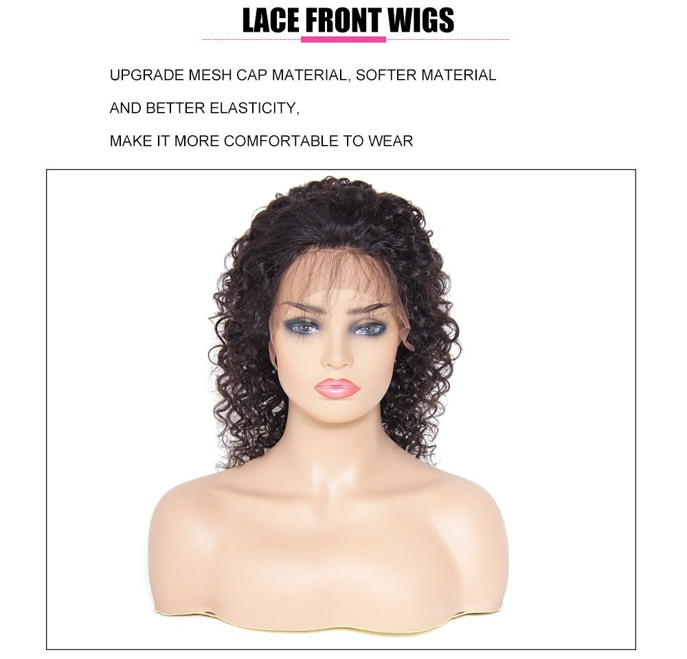 UNice Pre-Plucked 12inch Curly Lace Front Human Hair Wig With Baby Hair