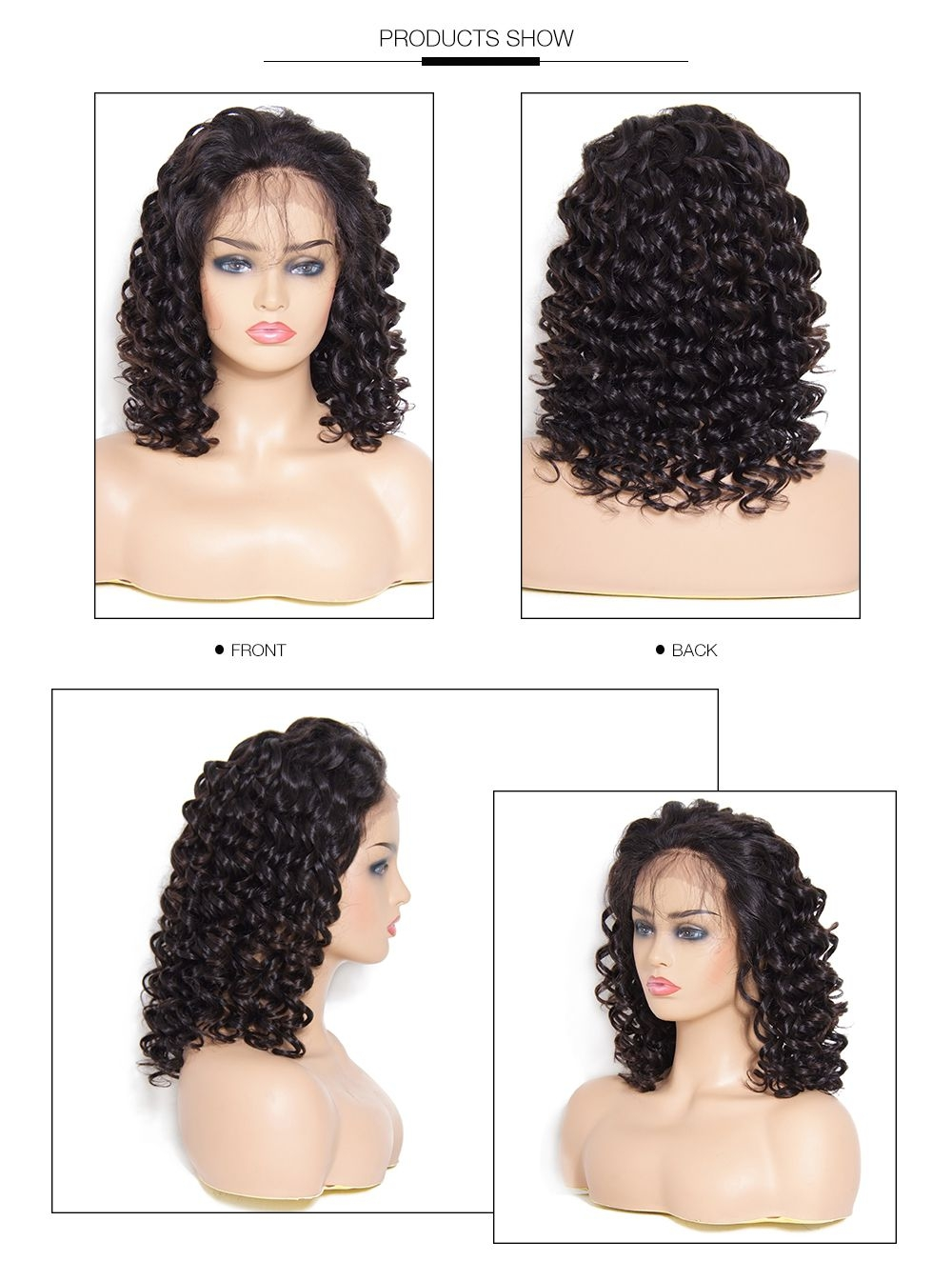 UNice Medium Length Curly Wave Lace Front Human Hair Wig With Baby Hair