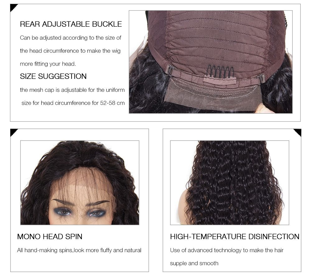 Unice  Deep Wave Free Part Lace Front Human Hair Wig With Baby Hair