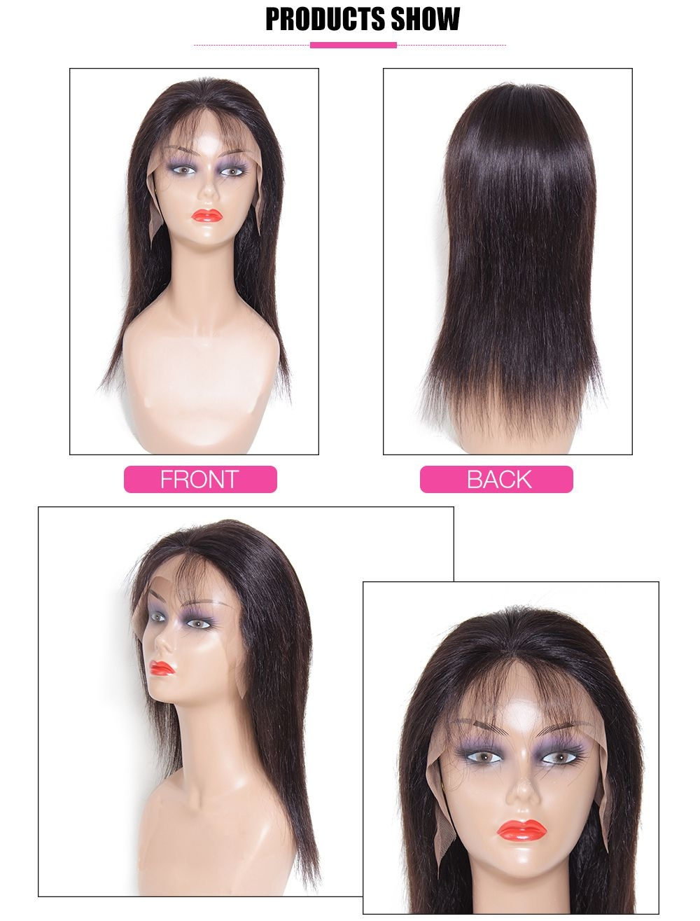 UNice 16in Straight Lace Front Human Hair Wig With Baby Hair