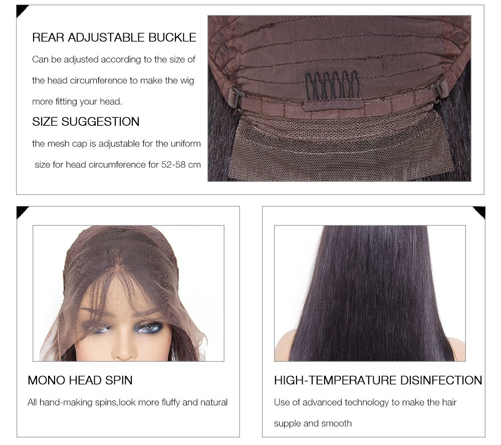 UNice Pre-Plucked Free Part Silky Straight Lace Front Human Hair Wig With Baby Hair