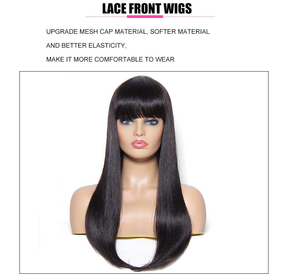 UAfricanMall Hair Long Straight Wig With Full Bangs 22 Inch
