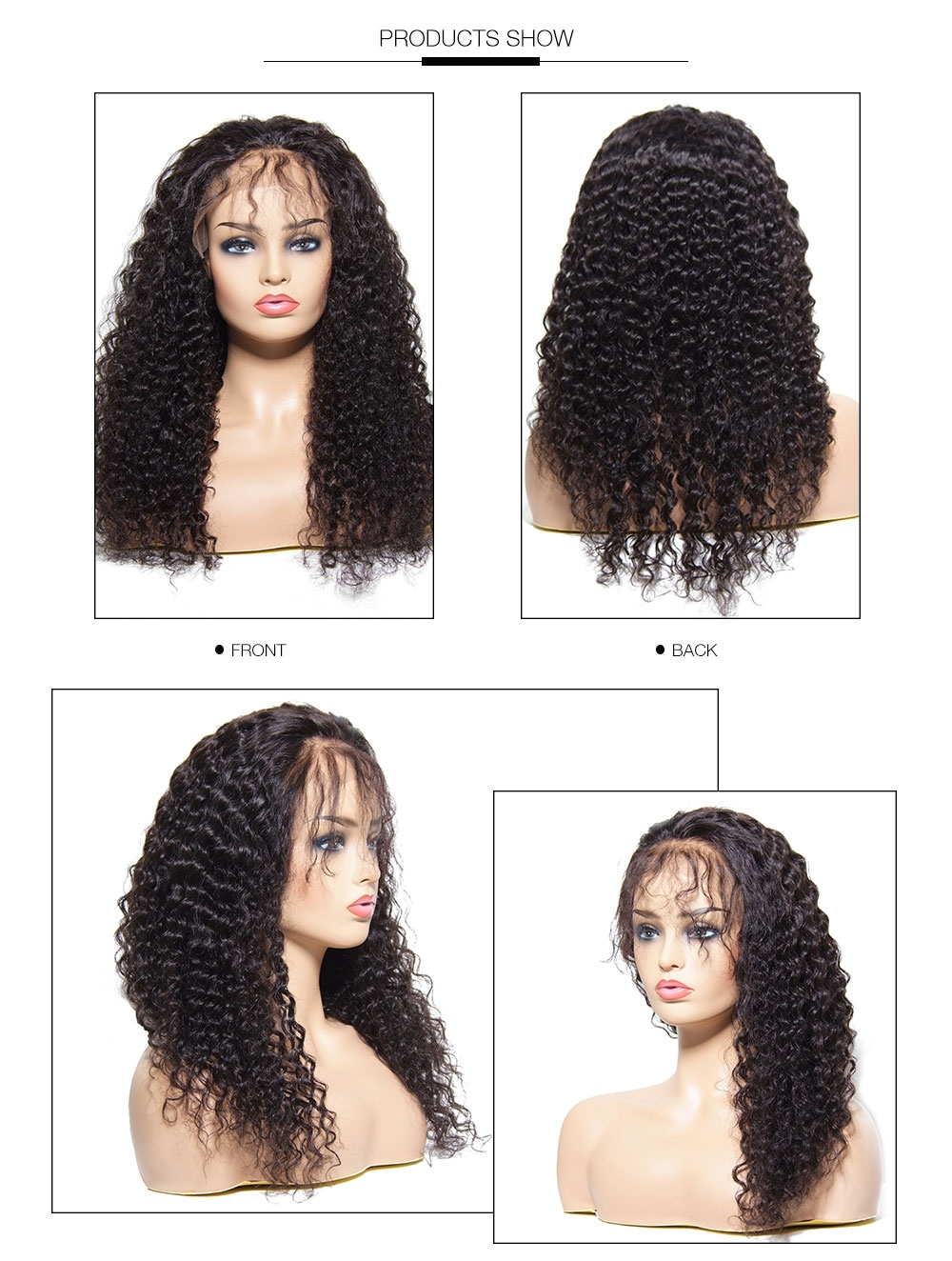 UNice Lace Front 100% Human Hair Jerry Curly Wig