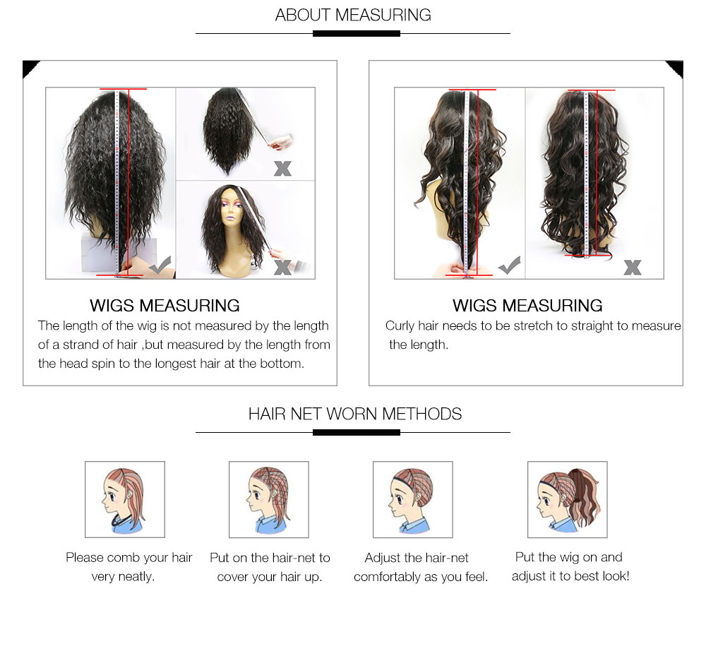 UNice Long Straight Hair Wigs measuring