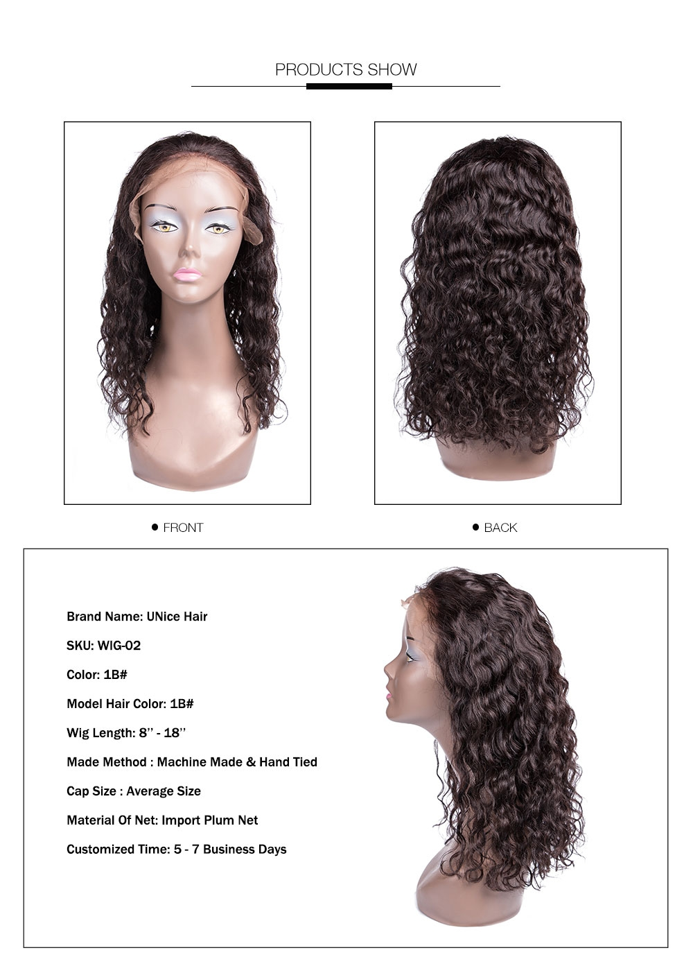 AfricanMall Latest Fabulous Lace Front Wigs 100% Human Hair Water Wave Products Show